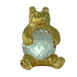 bear figurine crystal handmade bohemian lead NWT